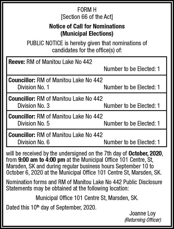 Rm Election Call for Nominations